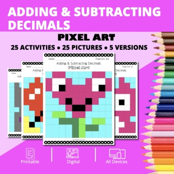 Valentine's Day: Adding and Subtracting Decimals Pixel Art Mystery Pictures