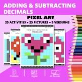 Valentine's Day: Adding and Subtracting Decimals Pixel Art