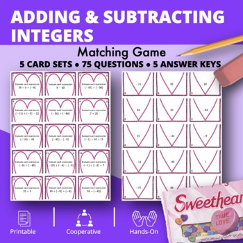 Valentine's Day: Adding and Subtracting Integers #2 Matching Game