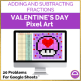 Valentine's Day Adding and Subtracting Fractions Pixel Art