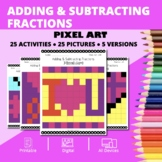 Valentine's Day: Adding and Subtracting Fractions Pixel Ar