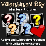 Valentine's Day Adding and Subtracting Fractions With Unlike Denominators