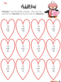 Valentine's Day Addition - 2 and 3 Digit - w/ and w/o Re-grouping