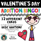 Valentine's Day Addition BINGO! ♥ 32 Different Cards! ♥
