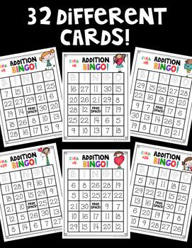 Valentine's Day Addition BINGO! ♥ 32 Different Cards! ♥