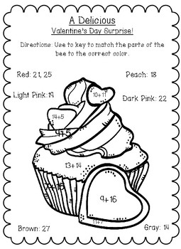Valentine's Day Addition Coloring Sheets