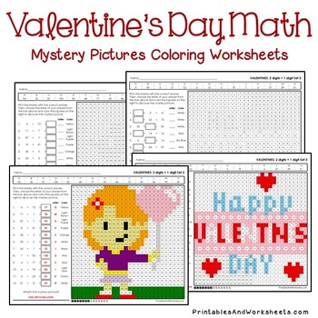 Valentine's Day Addition Worksheets, Valentine's Addition Mystery Pictures