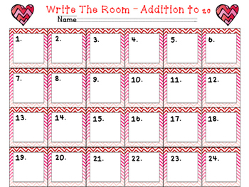 Valentine's Day Addition Facts to 20 Write the Room