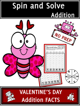 Valentine's Day Activities Addition Spin and Solve Math Centers