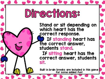 Valentine's Day – Addition Stand and Sit Power Point Game - Freebie!