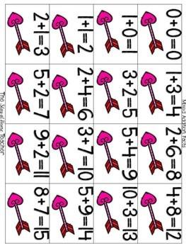 Valentine's Day Addition/Subtraction BINGO