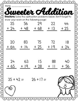 Valentine's Day Addition/Subtraction & Place Value Review (((7 PAGES)))