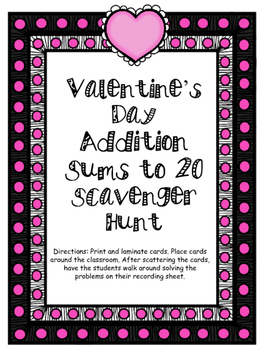 Valentine's Day Addition Sums to 20