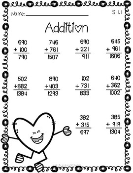 Valentine's Day Addition Worksheets - Mix regrouping and non-regrouping