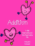 Valentine's Day Addition Worksheets - Mix regrouping and n