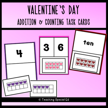 Valentine's Day Addition and Counting Task Cards