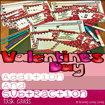 Valentine's Day Addition and Subtraction Differentiated Task Cards