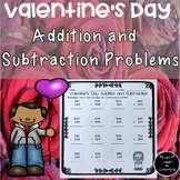 Valentine's Day Addition and Subtraction Easy Prep Worksheets