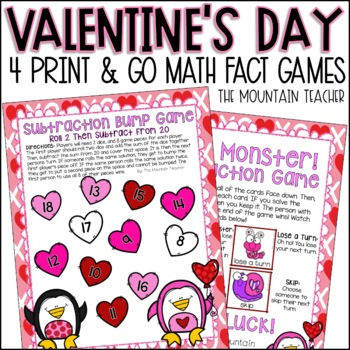 Valentine's Day Addition and Subtraction Games