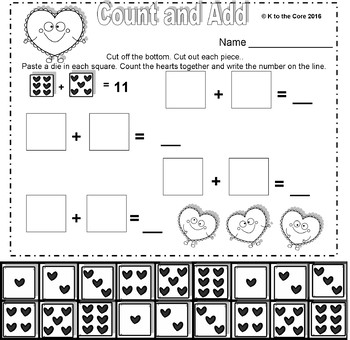 Valentine's Day Addition and Subtraction Packet