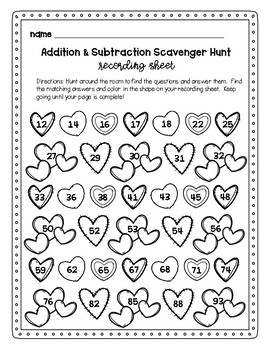 Valentine's Day Addition and Subtraction Scavenger Hunt