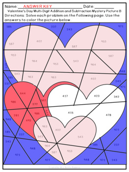 Valentine's Day Addition and Subtraction Within 1,000 Mystery Pictures