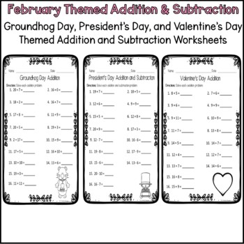 Valentine's Day Addition and Subtraction Worksheets
