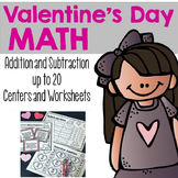 Valentine's Day Addition and Subtraction up to 20 {Centers and Worksheets}