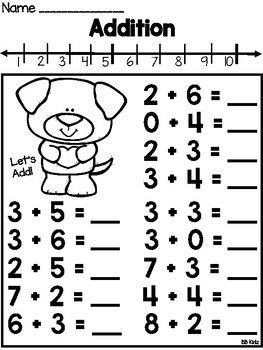 Valentine's Day Addition using a Number line {Kindergarten}