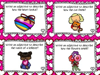 Valentine's Day Adjectives Task Cards - Using your 5 Senses