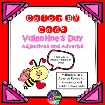 Valentine's Day Adjectives & Adverbs Practice - Color By Code!