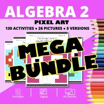 Valentine's Day Algebra 2 BUNDLE: Math Pixel Art Activities