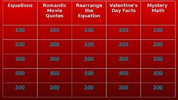 Valentine's Day Algebra Jeopardy Game - Math