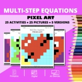 Valentine's Day: Algebra Multi-Step Equations Pixel Art My