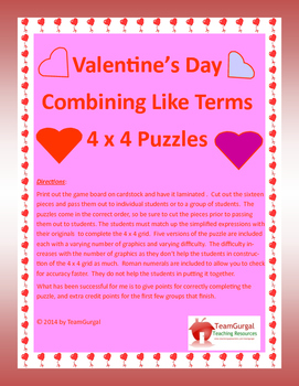 Valentine's Day Algebra Puzzle Freebie! Combining Like Terms with Polynomials