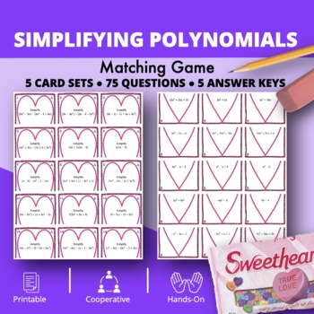 Valentine's Day: Algebra Simplifying Polynomials #1 Matching Game