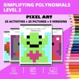Valentine's Day: Algebra Simplifying Polynomials #2 Pixel