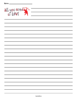 Valentine's Day - All You Need is Love - Lined Paper