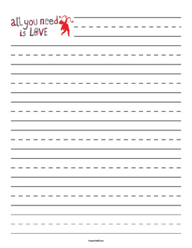 Valentine's Day - All You Need is Love - Primary Lined Paper