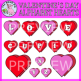 Valentine's Day Alphabet Hearts Clipart
