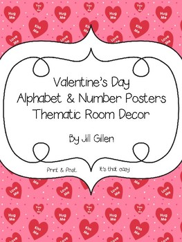 Valentine's Day Alphabet & Number Posters Thematic Room Decor