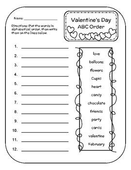 Valentine's Day Alphabetical Order- ABC Order