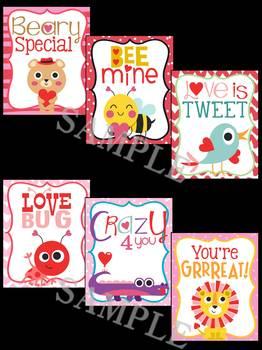 Valentine's Day Animals Brag Tags - Animals in Love, Hearts, Loving Animals