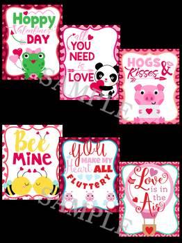 Valentine's Day Animals Brag Tags SET 2 - Animals in Love, Hearts, Love Animals
