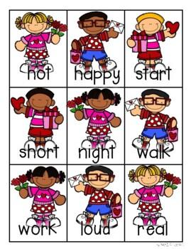 Valentine's Day Kiddos and Hearts Antonyms Match