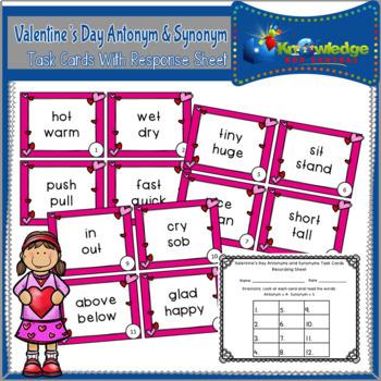 Valentine's Day Antonyms & Synonyms Task Cards