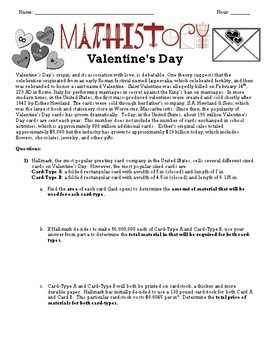 Valentine's Day: Applied Geometry: Area, Volume, Circumference