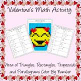 Valentine's Day Area of Rectangles, Triangles, Trapezoids
