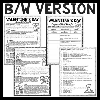 Valentine's Day Around the World Reading Comprehension Worksheet, February 14