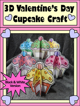 Valentine's Day Art Activities: 3D Valentine Cupcakes Craft Activity
